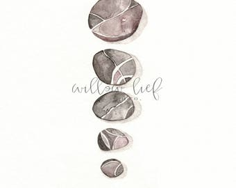 David's 5 Smooth Stones, nature art,  Watercolor Print, wall art, Archival Print
