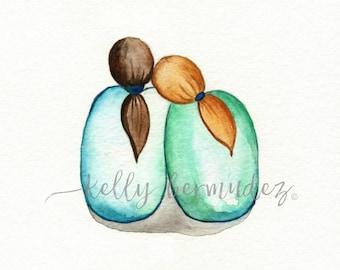 Sister Friend  Watercolor, Sister painting, Art, Watercolor