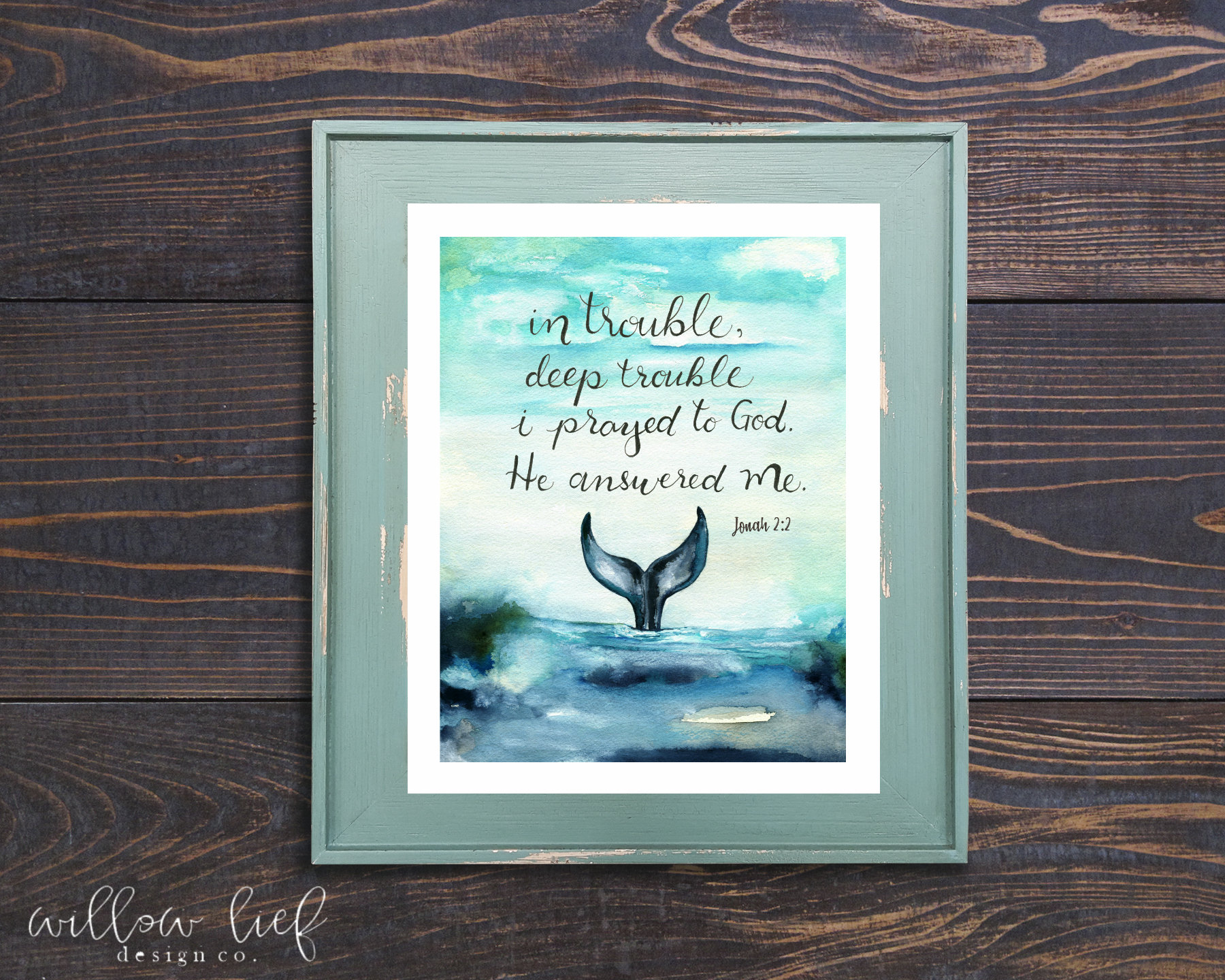 Jonah Whale Tail Bible Verse Whale Tail Watercolor Etsy