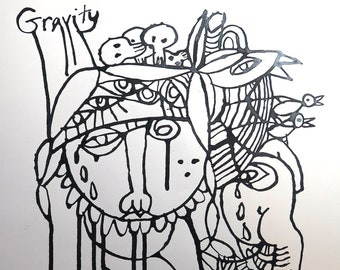 """Original Ink SWITCHFOOT oh Gravity Drawing 13x17"""" OG Signed Drawing LEVY"""