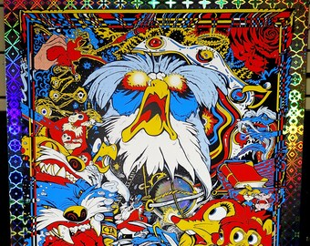 """Galactic RATS of NIMH 18"""" x 24"""" Galactic Windows Screen Print Levy Le of 30 plus Sticker, Postcards, Buttons"""