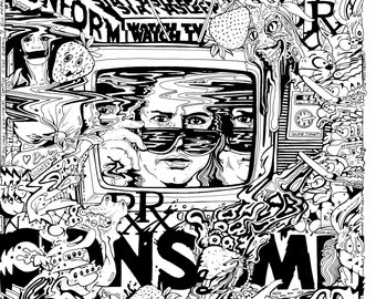"""white FOIL They Live Was a Documentary White Rainbow Swirl 18"""" x 24"""" Levy Le of 18 w buttons sticker postcards"""