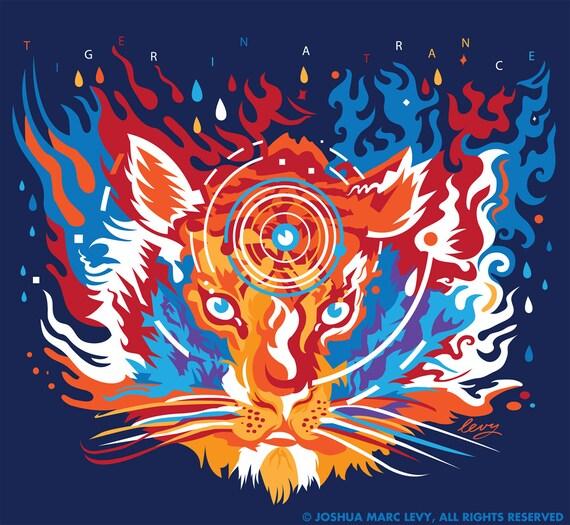 "Medium T ""Tiger In A Trance"" Grateful Dead T-Shirt xodftTBB"