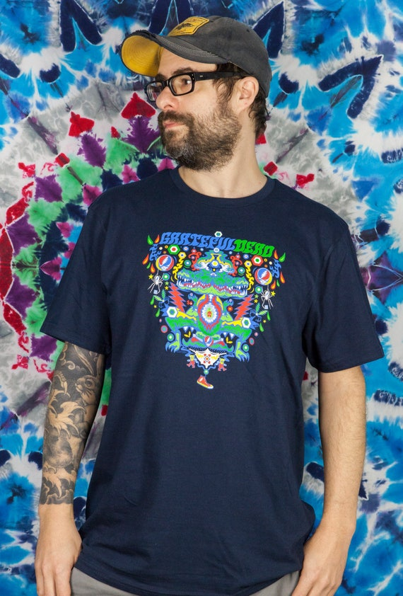 Small ALLIGATOR Grateful Dead Official T-Shirt Navy CN3ES