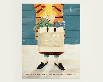 Mother's Day Greeting Card - Walking in Mom's shoes