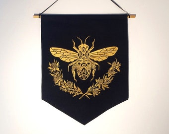 Honey Bee Banner in Black *MADE TO ORDER