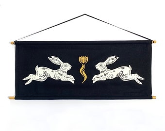 Rabbit Banner in Black *MADE TO ORDER