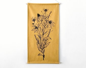 Coneflower & Lavender Banner in Yellow *MADE TO ORDER