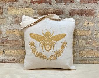 Honey Bee Tote Bag in Natural