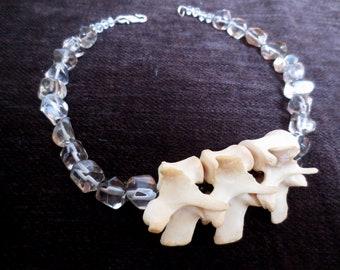 Raccoon Vertebrae Quartz Beaded Necklace