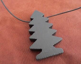 Wooden Toy Tree Pendant - Black