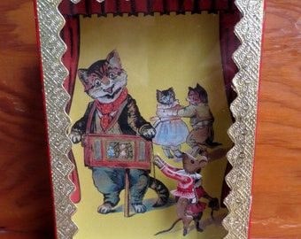 Vintage Cat and Mouse Sand Action Toy Victorian Repro Kinetic
