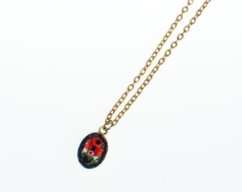 Vintage Made in Italy Red, Blue, White, and Yellow Mosaic Pendant Necklace