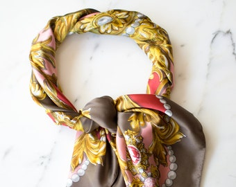 Vintage Taupe and Gold Leafy Silk Scarf, Red and Pink Accents, Pearl Design, Hand Rolled Edges