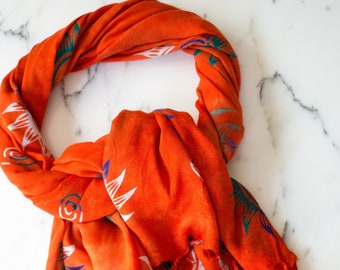 Vintage Orange Scarf, Wrap with Blue, White, and Green Sun Shapes, Large Scarf Shawl