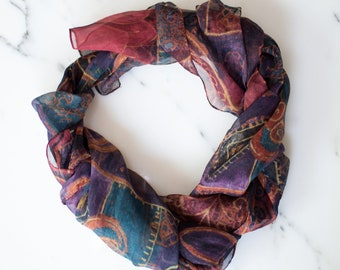 Vintage Casual Corner Purple Flower Scarf with Purple, Green, and Red Swirls, Gold Accents, Sheer Scarf Made in Italy