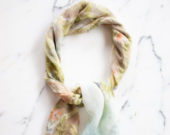 Ralph Lauren Birdhouse and Floral Design 100% Silk Scarf, Garden Scene
