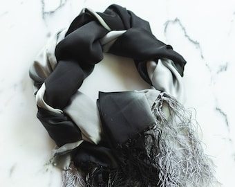 MNG Black and Gray Silky Evening Wrap, Fringe
