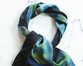 M P Murray Black, Blue and Green Gradiant Silk Signed Scarf