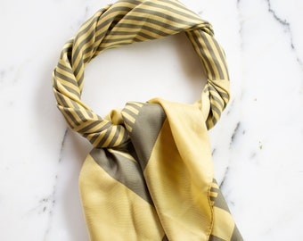 Yellow and Taupe 100% Silk Scarf Geometric Lines and Squares