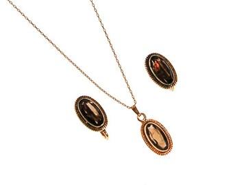 Smokey Topaz Pendant Necklace, Earrings Set, Demi Parure, Delicate, Oval Shape, 1/20 12kt Gold Filled, Screw Back Earrings