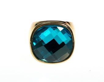 Vintage CN Design Ring Blue Crystal Statement Size 8 1 2