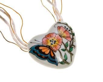 Diane Von Furstenberg Hand Painted Heart Pendant Statement Necklace, Fine China, One of Kind, Designer Vintage Jewelry, 1970s