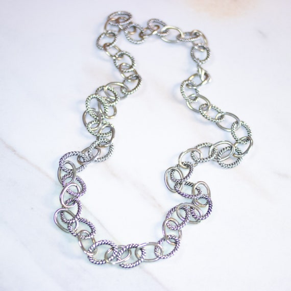 Vintage Gold and Silver Cable Link Chain Necklace