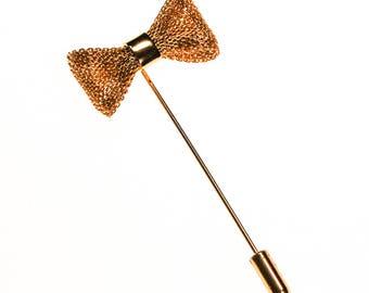 Diane von Furstenberg Gold Bow Stick Pin, Petite, Scatter Pin, DVF, Designer signed 1970 Jewelry