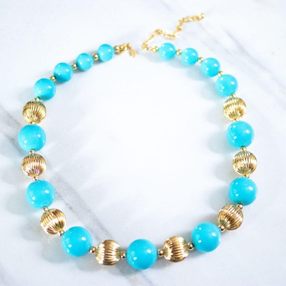 Vintage Joan Rivers Chunky Gold and Turquoise Bead