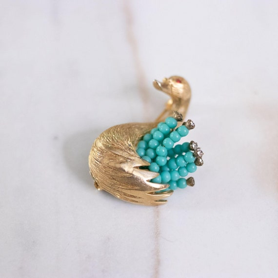 Vintage HAR Gold Swan Brooch with Turquoise Bead … - image 4