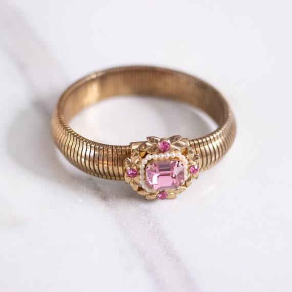 Vintage Coro Expansion Bracelet with Pink Rhinesto
