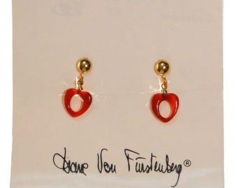 Diane von Furstenberg Carnelian Heart Earrings, Clip On, Petite, Danging, Designer Vintage Jewelry