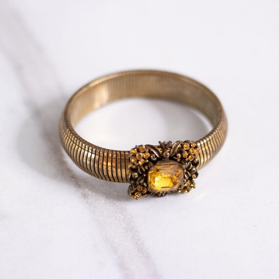 Vintage Coro Gold Expansion Bracelet with Amber Rh