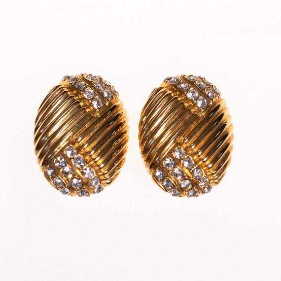 Vintage Joan Rivers  Gold Earrings Line Design wit