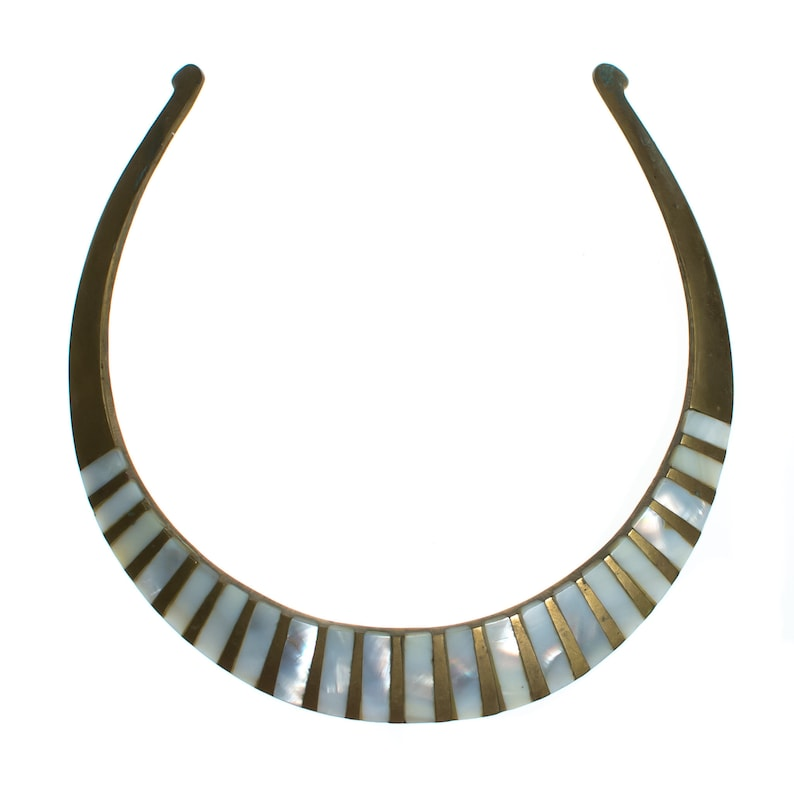 Vintage 1970s Made in India Boho Chic Brass Collar Necklace with Mother of Pearl Inlay