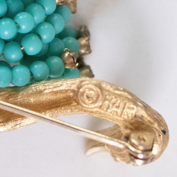 Vintage HAR Gold Swan Brooch with Turquoise Bead … - image 3