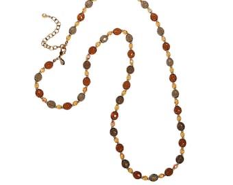 Vintage Joan Rivers Smokey and Citrine Crystal Beaded Necklace, Long Length, Adjustable, Aurora Borealis