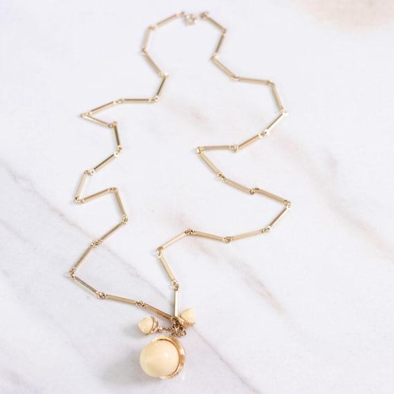 Vintage Cream Lucite Acorn Necklace