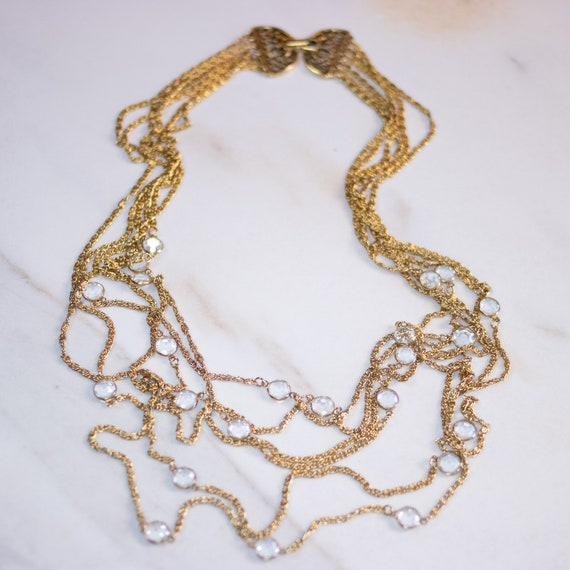 Vintage Multi Strand Gold Chain Necklace with Beze