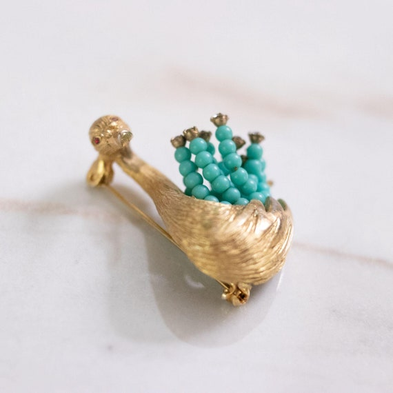 Vintage HAR Gold Swan Brooch with Turquoise Bead … - image 5