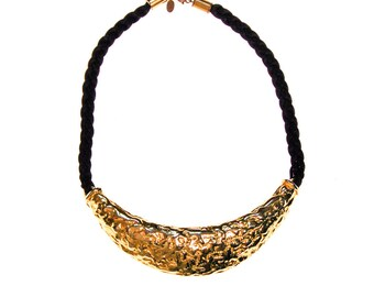 Gold Cadoro and Black Silk Cord Statement Necklace, Designer, Vintage Jewelry, 1970s