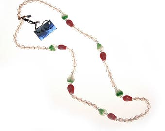 Diane von Furstenberg Pink Crystal, Pink Tulip, Green Leave Beaded Necklace, DVF, Designer Vintage Jewelry, 1970s