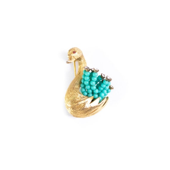 Vintage HAR Gold Swan Brooch with Turquoise Bead … - image 6