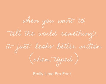 Emily Lime Font -  Pro Version Handwritten Script Cursive Sharpie Swash Swirly