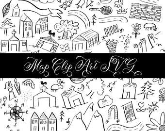 Hand Drawn Map Elements Clip Art SVG Icons Wedding Custom Farm