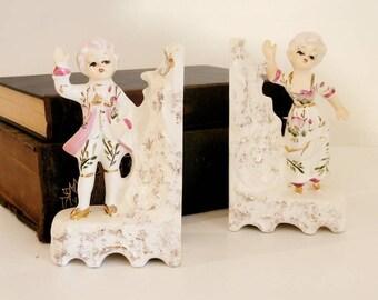 Colonial Ceramic Statue Boy and Girl Bookends Vintage Found by Foo Foo La La