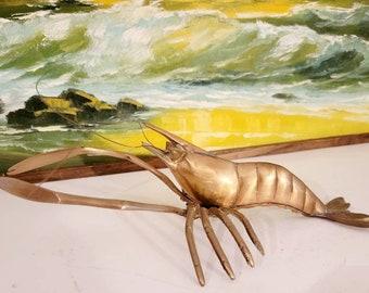 Lobster Crab Crawfish Vintage Brass Ocean Beach Standing Sculpture Found by Foo Foo La La