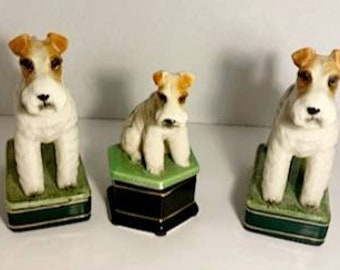 Takahashi Vintage Porcelain Dog Figures With Container set of 3 Figurines, Mid Century Modern Found By Foo Foo La La