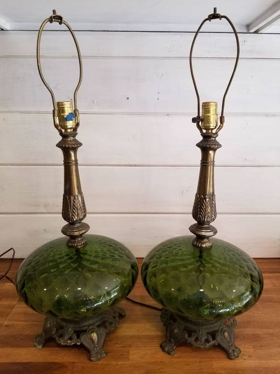 Mid Century Modern Lamps 2 Vintage Mid Century Retro 1972 Ef Ef 502 Green Glass Table Lamps Found By Foo Foo La La